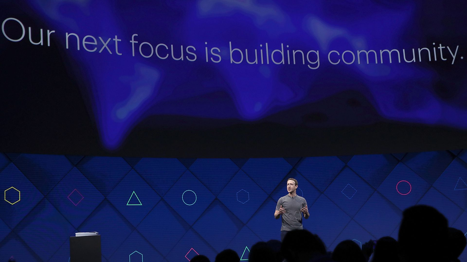 Mark Zuckerberg onstage at Facebook